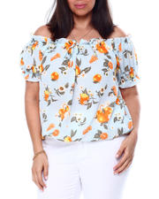 Plus Size - Printed Off The Shoulder S/S Ruffle Notch Frt W/Mock Tie Top-2460526
