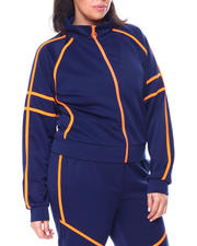 Plus Size - Tricot Track Jacket W/Tape Trim (Plus)-2461531
