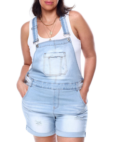 Fashion Lab - Destructed Denim Shortall (Plus)