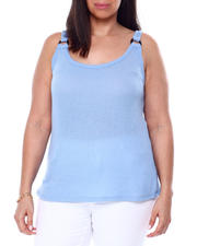 Plus Size - Sweater Knit Tank W/Horn O-Ring-2460522
