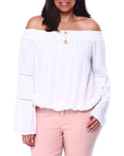 Plus Size - L/S Off The Shoulder Solid Dobby Rayon Blouse W/Crochet Trim(Plus)-2461937