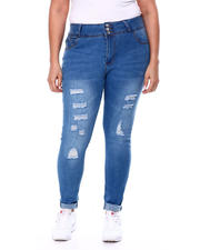Plus Size - Ripped 3 Button Skinny Jean (Plus)-2462555
