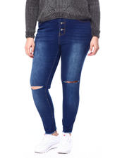 Skinny - Slit Knee Raw Edge 4 Button High Rise Skinny Jean (Plus)-2462760