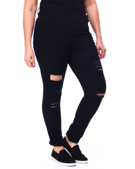 Fashion Lab - High Waisted Destructed Roll Cuff Stretch Skinny Jean (Plus)
