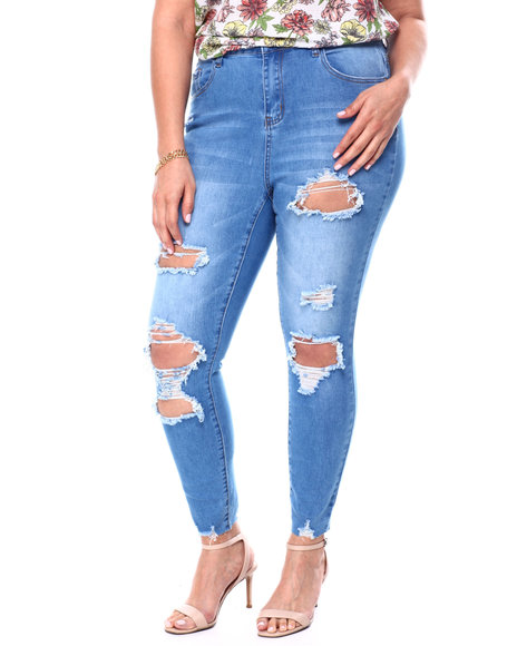 Fashion Lab - High Rise Destructed Skinny Ankle Jean (Plus)