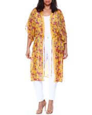 Plus Size - S/S Floral Long Kimono W/Lace Trim(Plus)-2460513