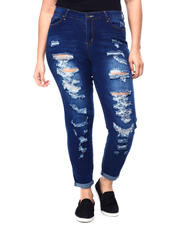 Plus Size - High Rise Destructed Skinny Jean W/Neon Accents (Plus)-2460541
