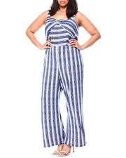 Plus Size - S/L Stripe Ankle Length Jumpsuit W/Front Twist(Plus)-2461925