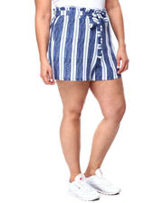 Plus Size - Paperbag Short W/Self Belt & Pockets(Plus)-2462351