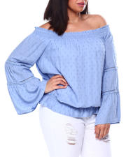 Plus Size - L/S Off The Shoulder Solid Dobby Rayon Blouse W/Crochet Trim-2461959