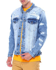 Outerwear - Distressed Ripped Denim Jacket-2462827