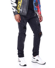 Men - Black Paint Splatter Ripped Stretch Jean-2463373