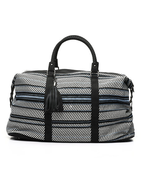 Fashion Lab - Canvas Weekender W/ Braided Handles And Tassels