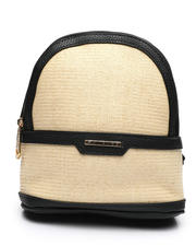 Fashion Lab - Straw Dome Mini Backpack-2461333