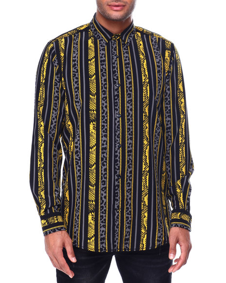 Buyers Picks - Animal Stripe and Chains LS Woven Shirt