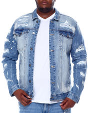 SMOKE RISE - Rip & Tear Distressed Denim Jacket (B&T)-2463893
