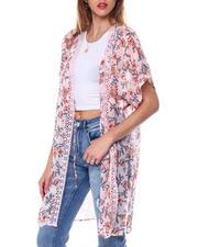 DEREK HEART - Floral S/S Crepe Chiffon Kimono-2462355