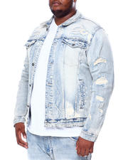 SMOKE RISE - Rip & Tear Distressed Denim Jacket (B&T)-2463897
