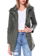 Womens-Winter - High Collar Coat W/Drawstring Waist Zipper & Flap Chest Pocket/Bottom Patch Pockets-2463966