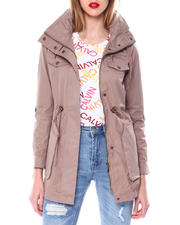 Womens-Winter - High Collar Coat W/Drawstring Waist Zipper & Flap Chest Pocket/Bottom Patch Pockets-2463978