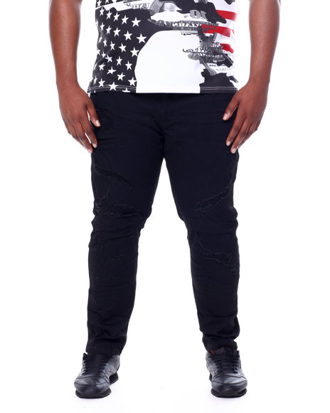 SMOKE RISE - Distressed Moto Knee Denim Jeans (B&T)