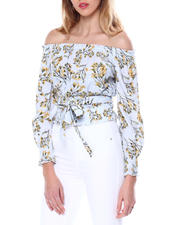 Women - L/S Floral Off Shoulder Blouse W/Self Tie-2462381