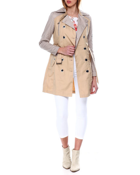 XOXO - Poly Nylon Belted Trench