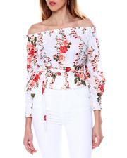 DEREK HEART - L/S Floral Off Shoulder Blouse W/Self Tie-2462418