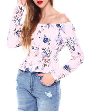 Fashion Tops - Printed L/S Smocked Top Square Nk Blouse-2462368