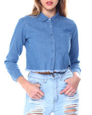 Fashion Tops - L/S Cropped Heavy Denim Button Up-2462480