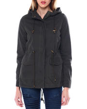 Womens-Winter - Hooded Twill Parka W/Drawstring Waist Flap Bottom Pockets-2463941