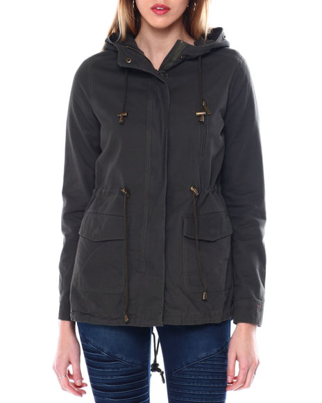 Fashion Lab - Hooded Twill Parka W/Drawstring Waist Flap Bottom Pockets