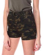 Fashion Lab - Super High Rise Camo Cargo Short W/Belt-2463165
