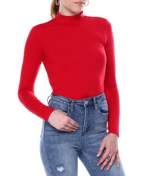 Fashion Lab - MOCK NECK OPEN BACK L/S THONG BODYSUIT
