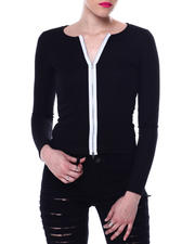 Tops - TWO TONE TWO WAY ZIPPER FRONT TOP-2466514