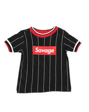 Sizes 2T-4T - Toddler - Pinstripe Ringer T-Shirt W/ Savage Box Logo (2T-4T)-2466036