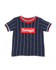 Sizes 2T-4T - Toddler - Pinstripe Ringer T-Shirt W/ Savage Box Logo (2T-4T)-2466040