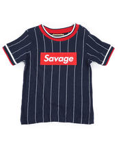 Sizes 4-7x - Kids - Pinstripe Ringer T-Shirt W/ Savage Box Logo (4-7)-2466062