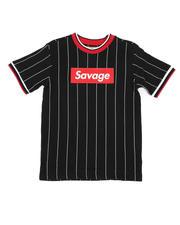 Tops - Pinstripe Ringer T-Shirt W/ Savage Box Logo (8-18)-2466215