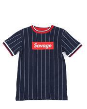 Tops - Pinstripe Ringer T-Shirt W/ Savage Box Logo (8-18)-2466234