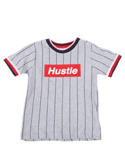 Sizes 4-7x - Kids - Pinstripe Ringer T-Shirt W/ Hustle Box Logo (4-7)-2466254