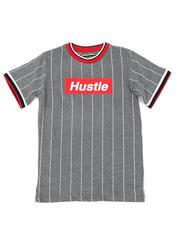 Tops - Pinstripe Ringer T-Shirt W/ Hustle Box Logo (8-18)-2466313