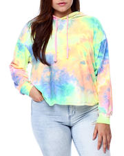 Plus Size - Tie Dye Butter Knit Tie Drop Shoulder Pullover Hoodie(Plus)-2462268