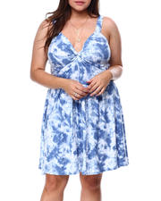 Plus Size - Twist Front Foam Cup Printed Dress-2462347