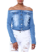 Womens-Holiday - DENIM OFF SHOULDER BUTTON FRONT TOP-2466682
