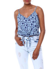 Tops - FLORAL TIE FRONT TANK-2466709