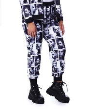 Bottoms - Black & White Face Print Jogger-2459809