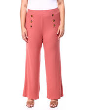 Plus Size - Brushed Rib Knit Pant W/Mock Horn Button Plackets(Plus)-2461932