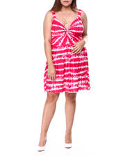 Plus Size - Twist Front Foam Cup Printed Dress(Plus)-2462335