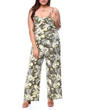 Plus Size - Smocked Back Jumpsuit W/Front Bodice O Ring Overlay(Plus)-2462422